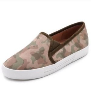 Joie Huxley leather camo slip on sneakers